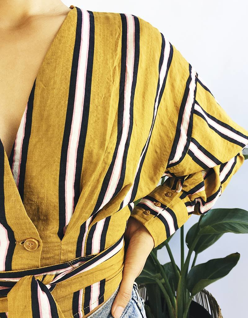 Cropped Stripped Mustard Shirt
