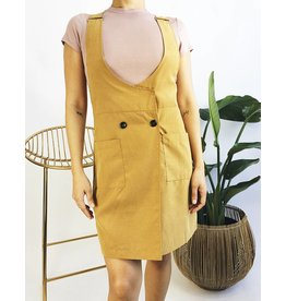 Overall Dress with button detail - Mustard