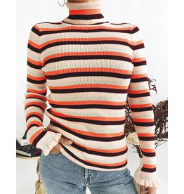 Col roulé en tricot côtelé à rayures
