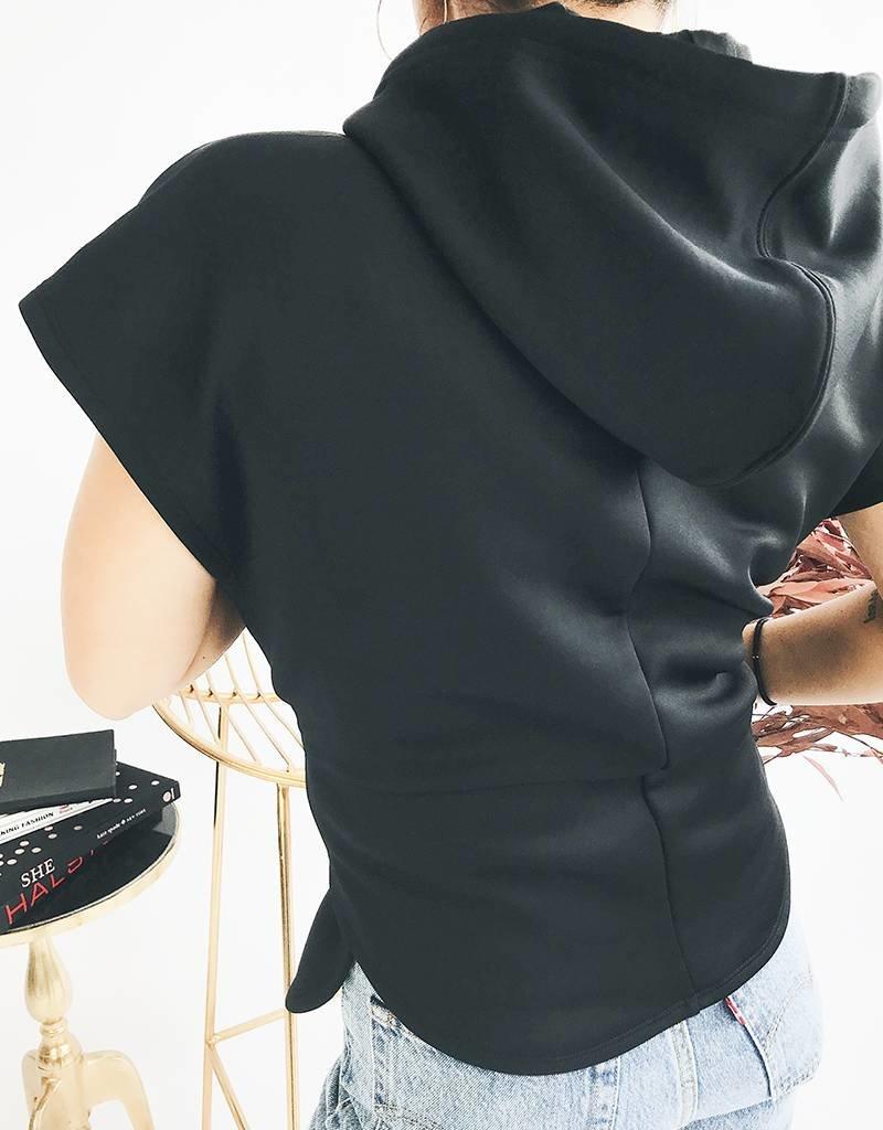 Sleeveless Tie Waist Hoodie Club Nomade