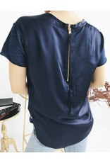 Woven Back Panel Tee - Blue