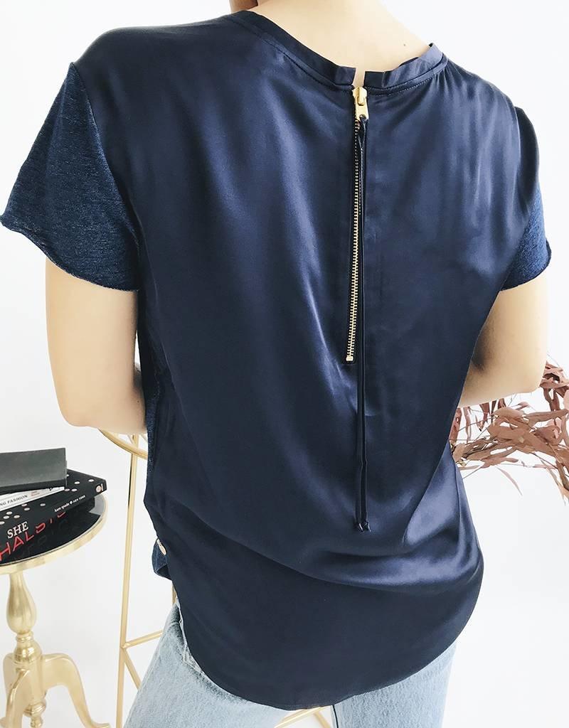 T-shirt avec pan tissé dans le dos - Bleu