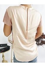 T-shirt avec pan tissé dans le dos - Rose