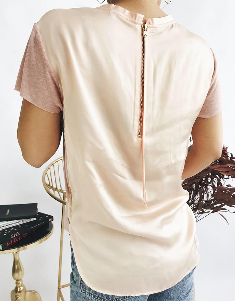 Woven Back Panel Tee - Pink