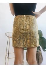 Faux Snake Print Mini Skirt