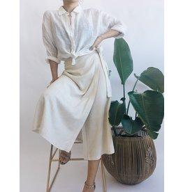 Linen Blend Skirt - Beige