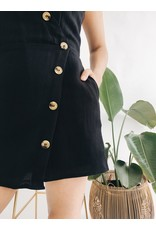 Black Romper with Buttons