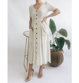 Linen Blend Long Dress With Button Detail - Beige