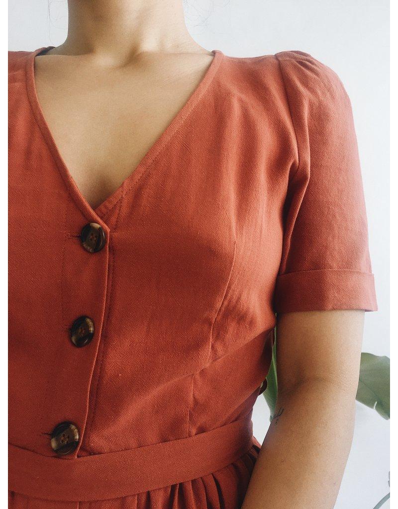 Linen Blend Long Dress With Button Detail - Rust