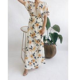 Floral Print Deep V-Neck Long Dress - White