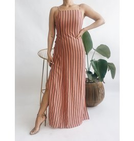 Striped Maxi Dress with Slits - Rust