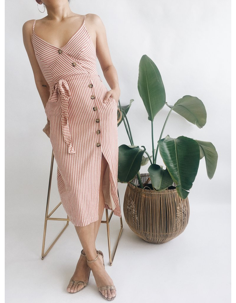 Striped Dress with Button Detail
