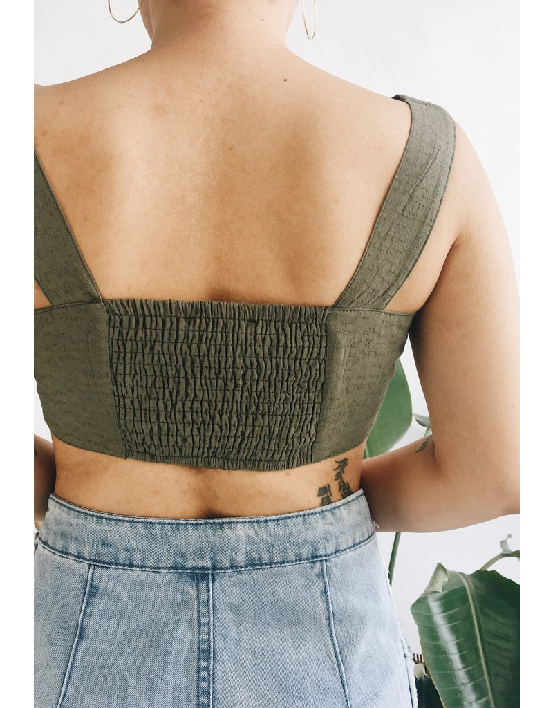 Crop Top with Button Detail - Olive