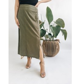 Long Skirt with Button Detail - Olive
