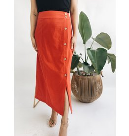 Long Skirt with Button Detail - Red