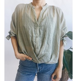 Oversized Shirt with High-Low Hem - Olive