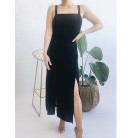 Robe longue à double fentes - Noir