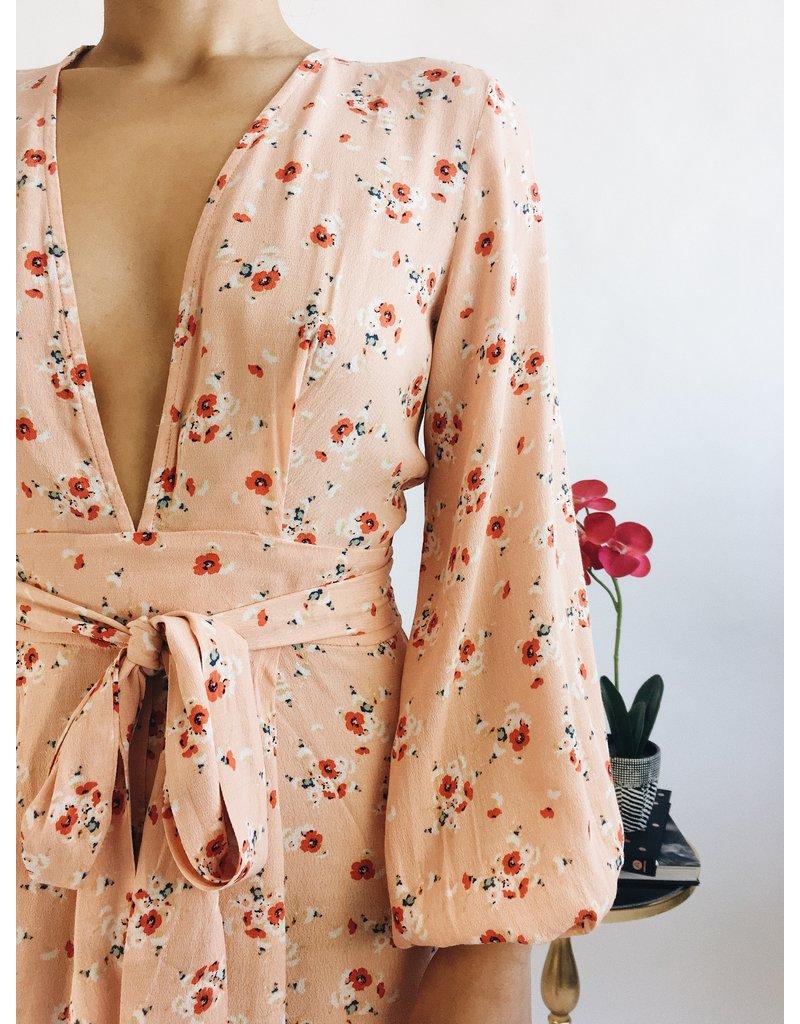 Floral Print Deep V Neck Short Dress with Long Sleeves