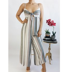 Striped Jumpsuit with Front Tie