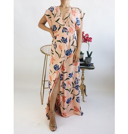 Floral Print Long Wrap Style Dress