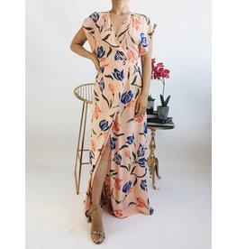 Robe longue style portefeuille à imprimé floral