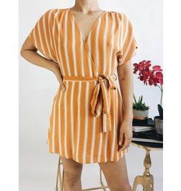 Striped Wrap Style Romper - Tangerine