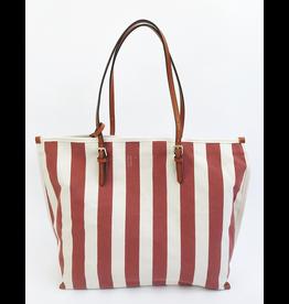 Mari Stripe Tote Bag - Red