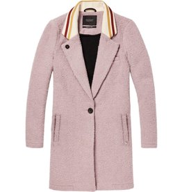 Bonded Wool Jacket with Striped Rib Collar
