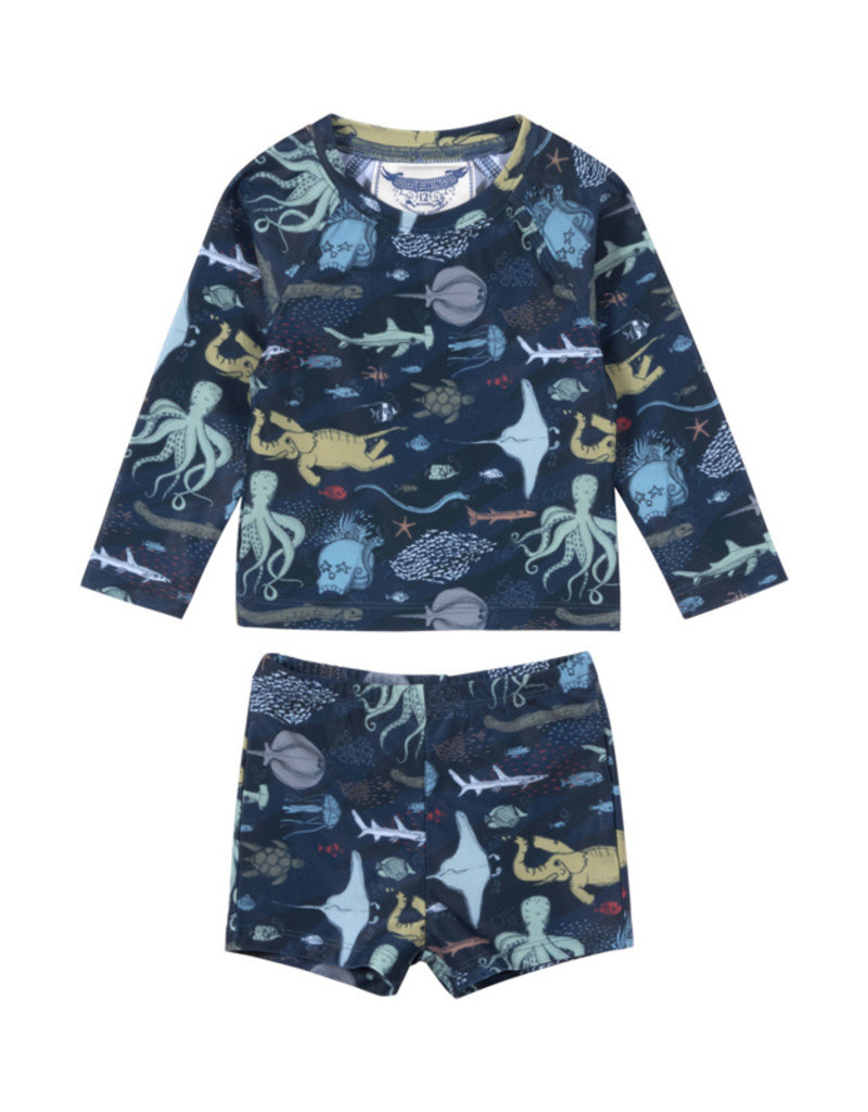 Paper Wings Paper Wings - Long Sleeve Rashie Set  - Under The Sea