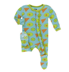 KicKee Pants KicKee Pants - Print Muffin Ruffle Footie with Snaps
