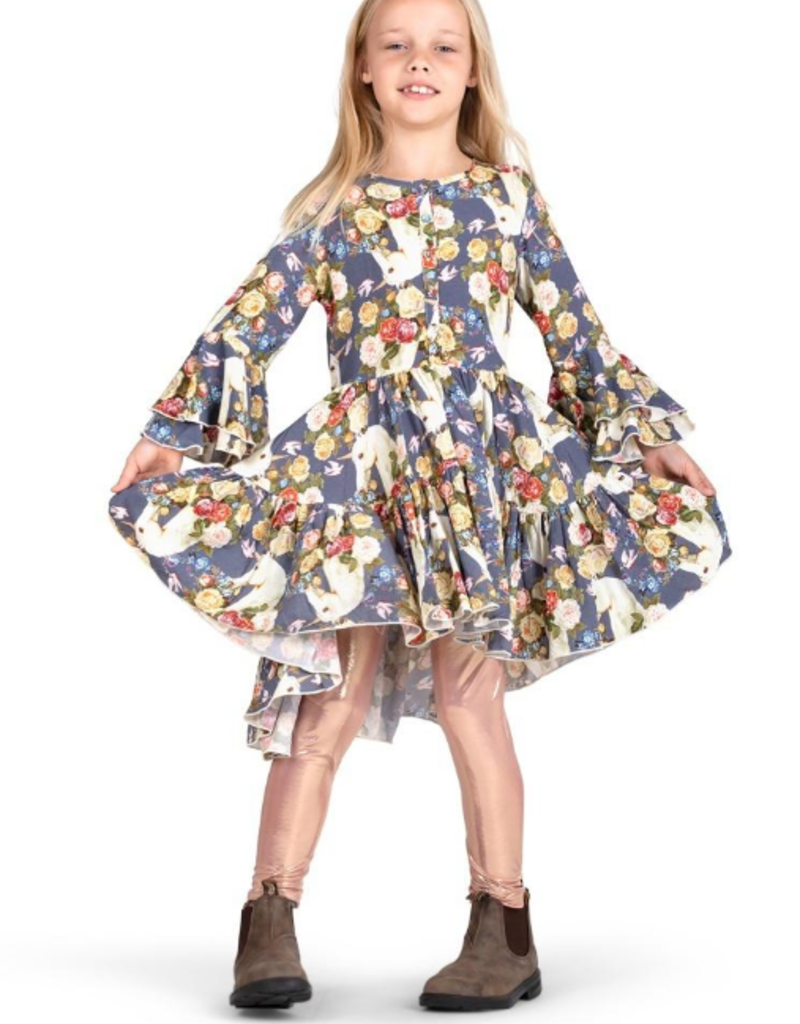 Paper Wings - Bell Sleeve Frilled Dress