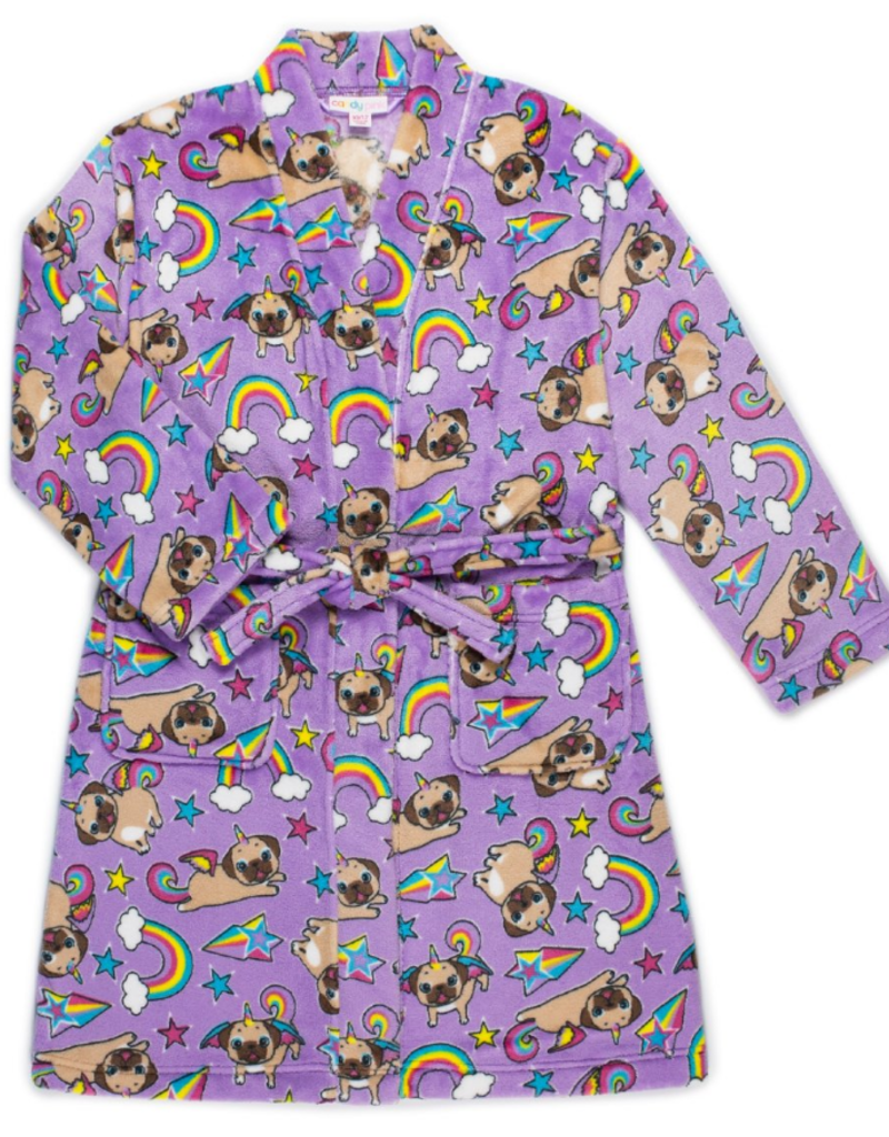 Candy Pink Candy Pink - Girls Fleece Robe - Pugicorn