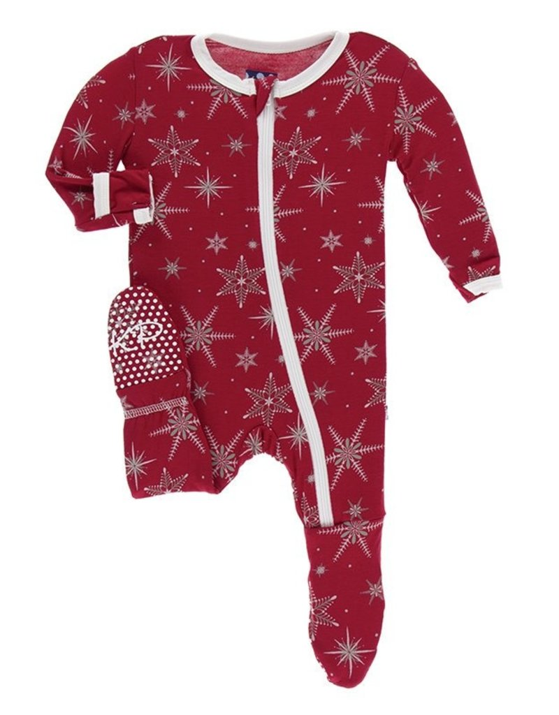 KicKee Pants KicKee Pant - Holiday Muffin Ruffle Footie with Zipper