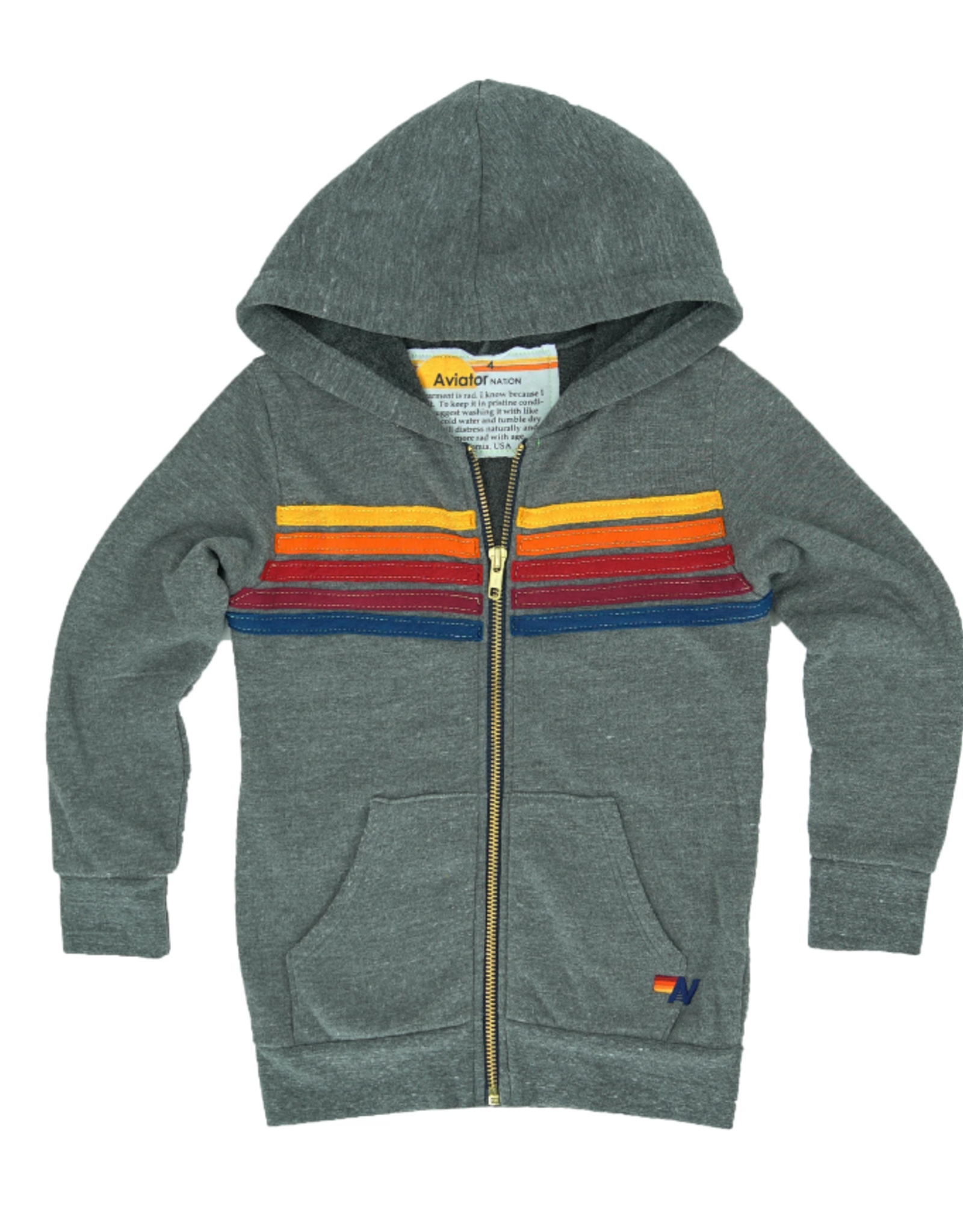 Aviator Nation 5-Stripe Hoodie Heather Grey