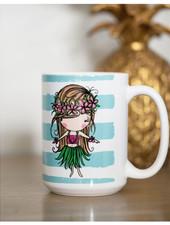 15 oz Mug Hula Girl Blue Stripes