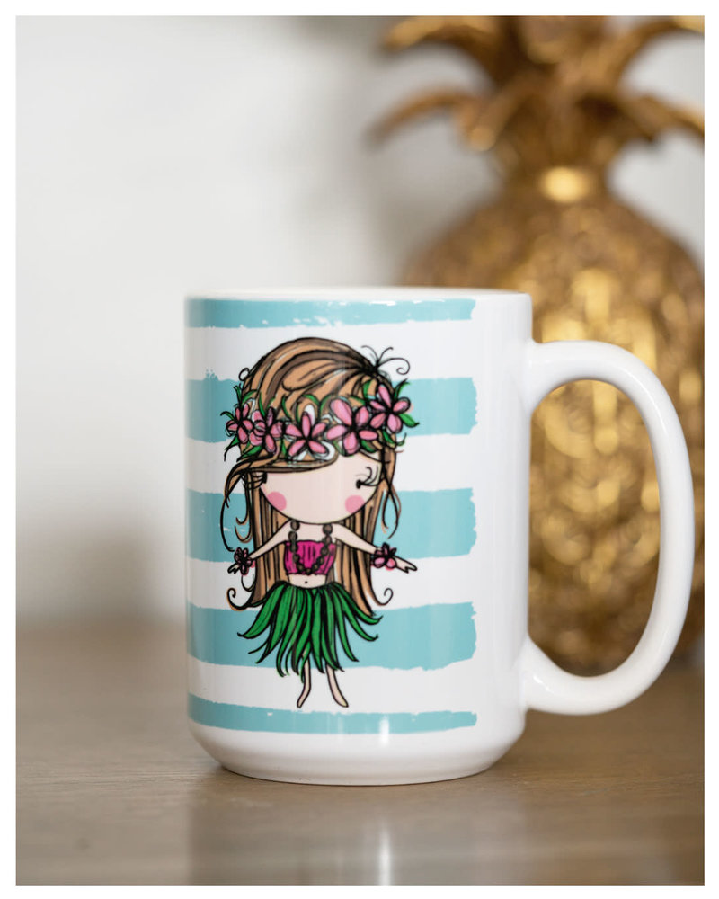 15 oz Mug Hula Girl Blue Stripes