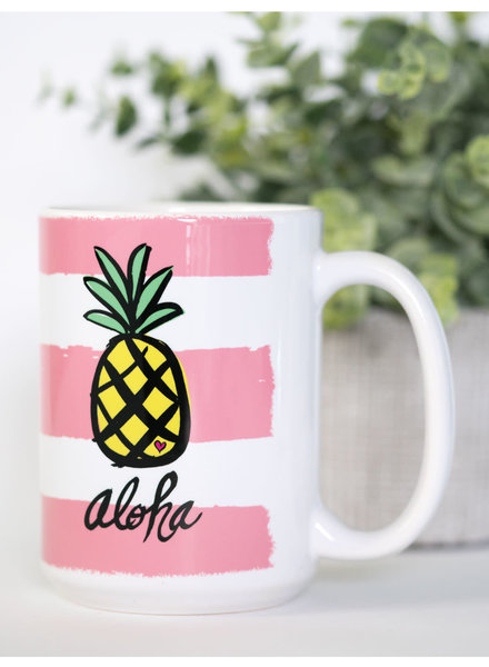 15 oz Mug Aloha Pineapple Pink Stripes