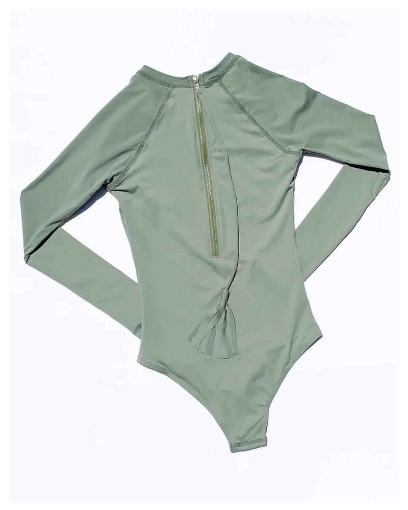 CINNAMON GIRL Maile Long Sleeve Swimsuit SAGE
