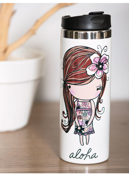 In House LP TRAVEL MUG Floral Girl Aloha