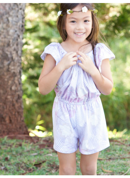 Girls Delilah Romper Vintage Leaves