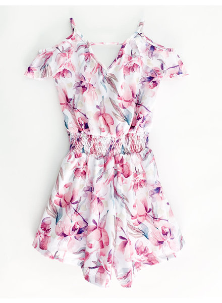 Girls Lana Romper Watercolor Peonies