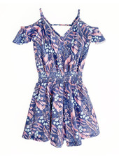 Girls Lana Romper Blue Leaves