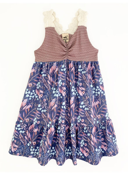 Girls Jane Dress Blue Leaves