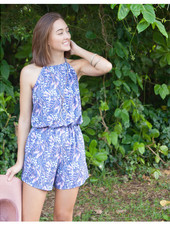 Willow Romper Blue Leaves