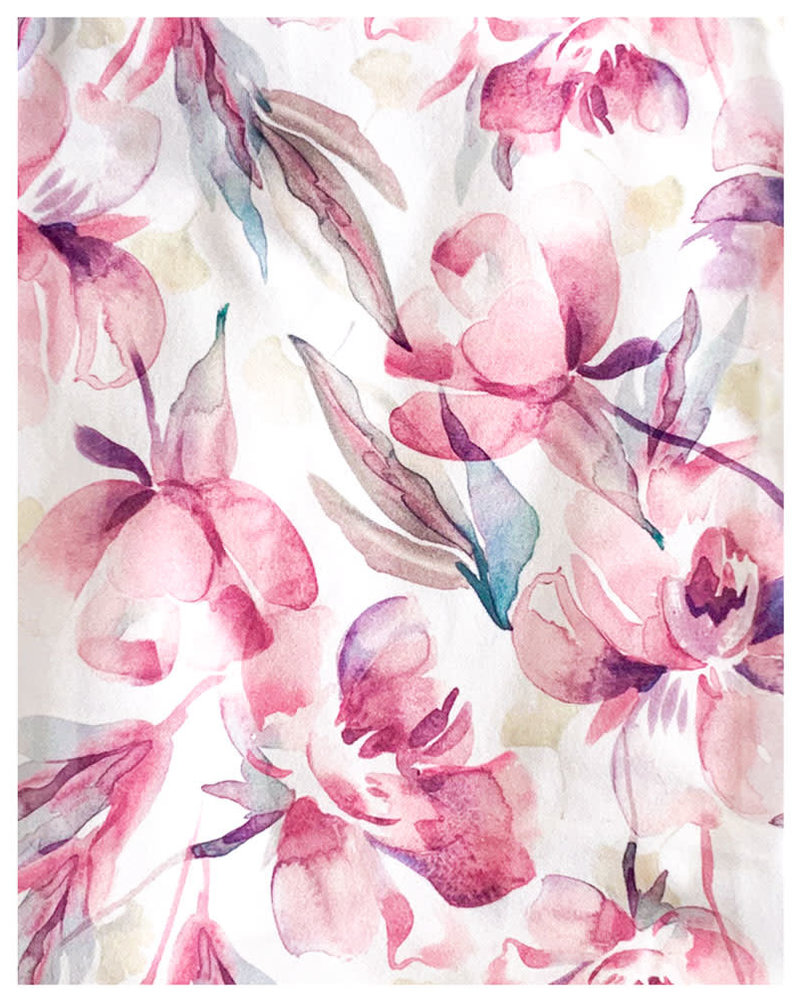 Eva Off Shoulder Watercolor Peonies