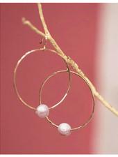 Moana Hoop Pink Pearl Earrings