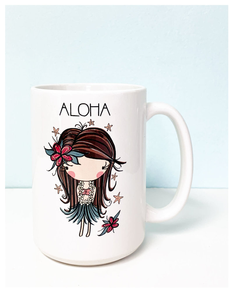 15 oz Mug Retro Aloha Hula Girl