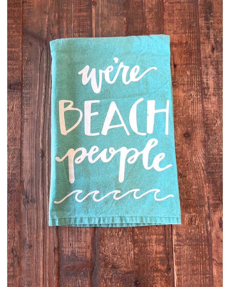 """Kitchen Towel """"We're Beach People"""" Sea Foam"""