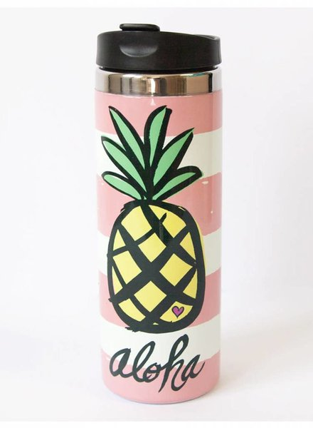 TRAVEL MUG Pineapple Aloha Pink Stripes