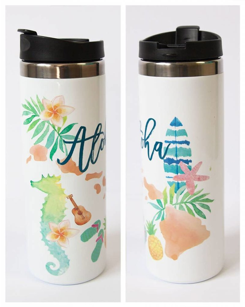 In House LP TRAVEL MUG Aloha Watercolors
